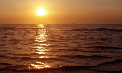 sunset at the beach restaurant